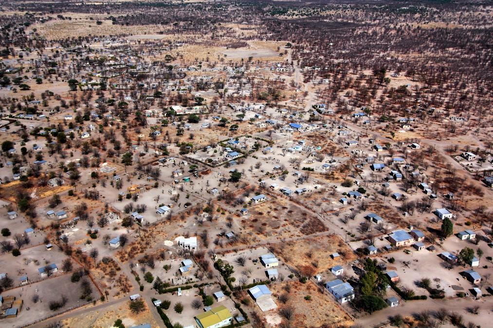 Vue aérienne de Maun au Botswana