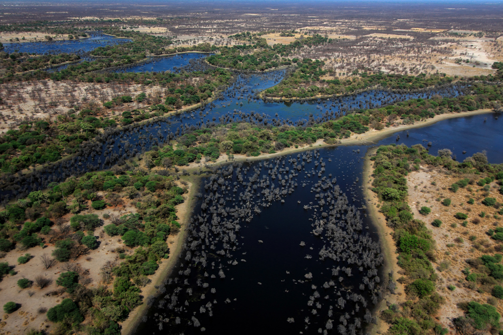 Vue aérienne de l'Okavango Delta au Botswana