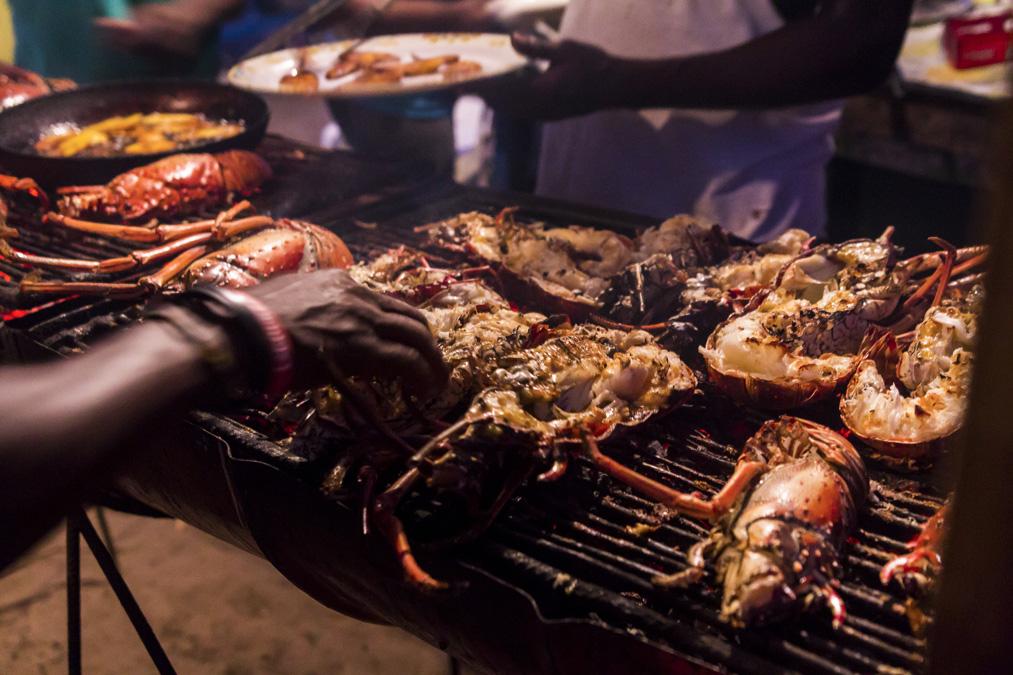 Barbecue de langoustes aux Grenadines