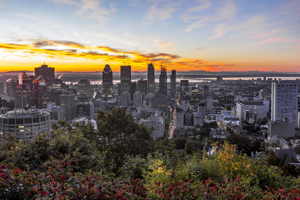Point de vue depuis le belvédère du Mont-Royal au Canada