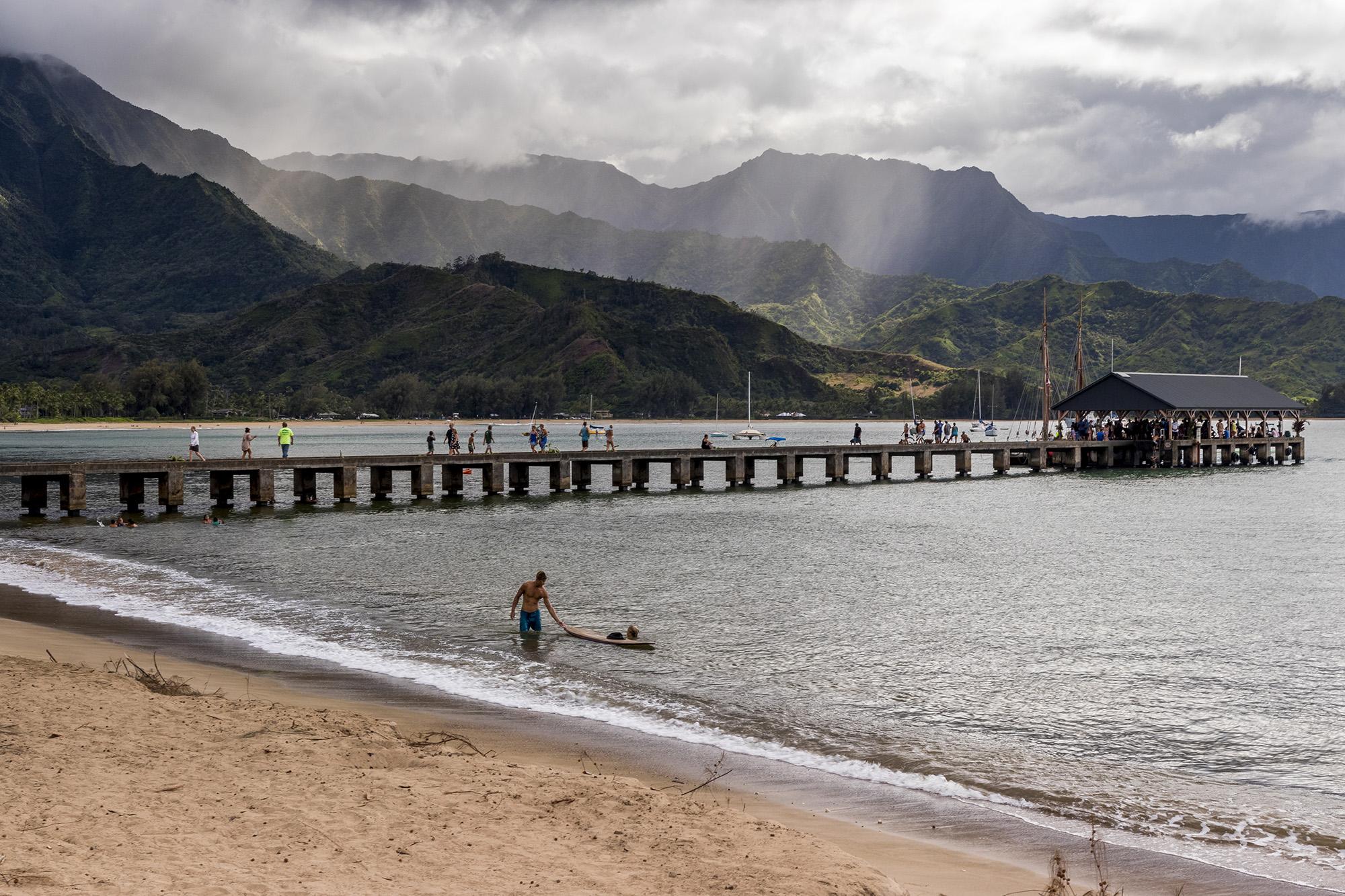 Hanalei Pier sur l'île Kauai de l'archipel d'Hawaï
