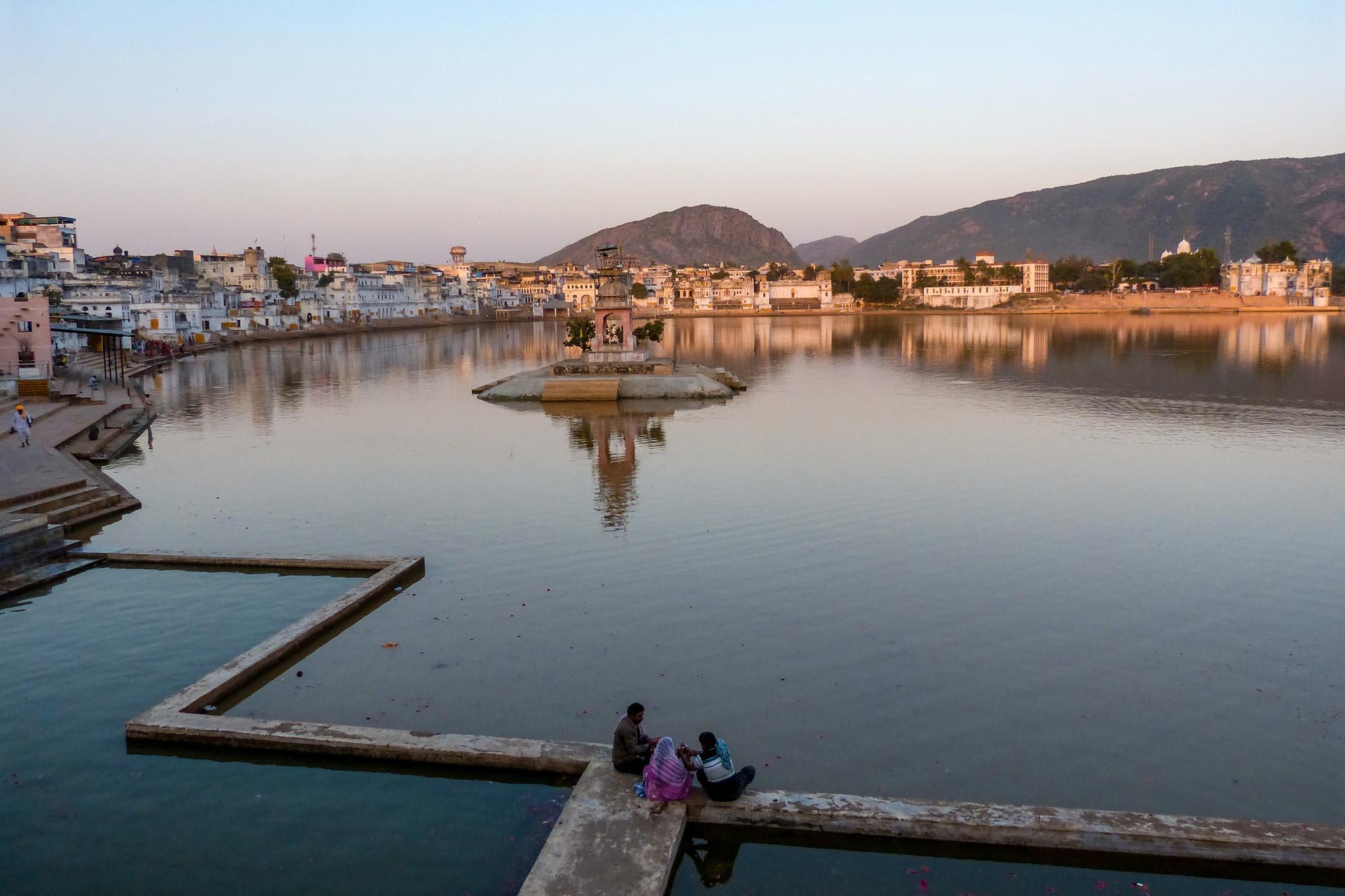 Lac sacré de Pushkar en Inde du Nord