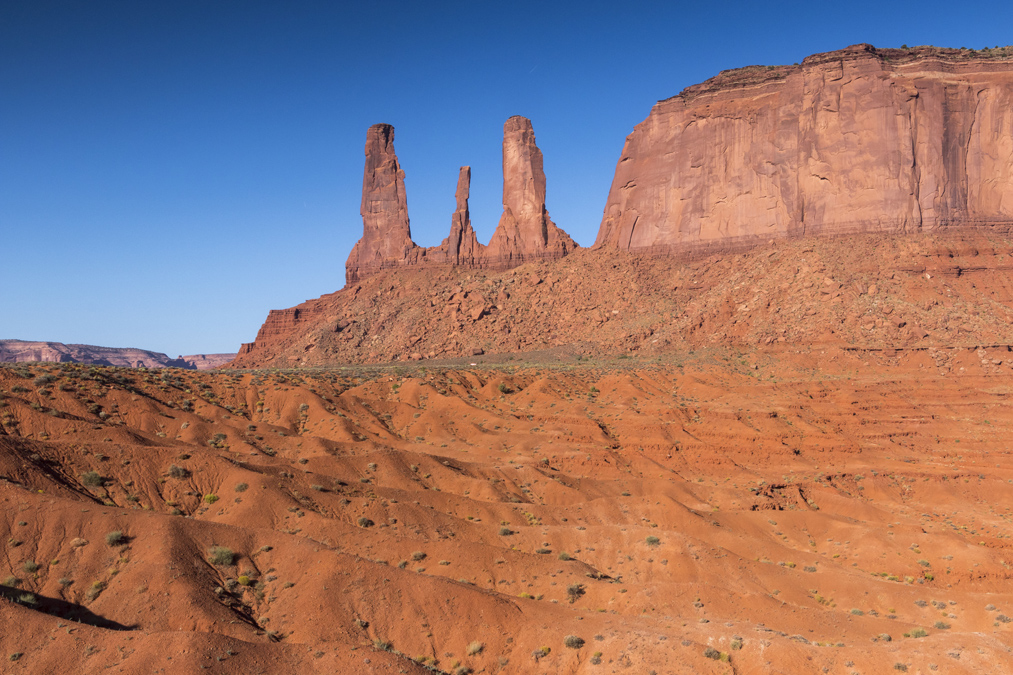Three Sisters dans le site de Monument Valley aux Etats-Unis